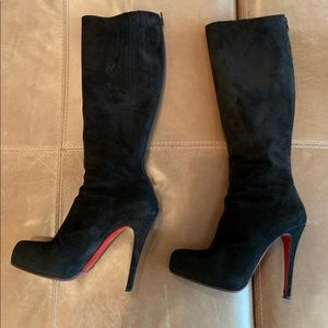 Christian Louboutin black suede boots!